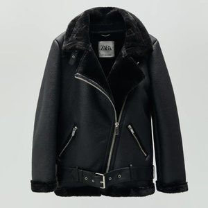 NWT Zara Black Faux Fur Double Faced Biker Jacket